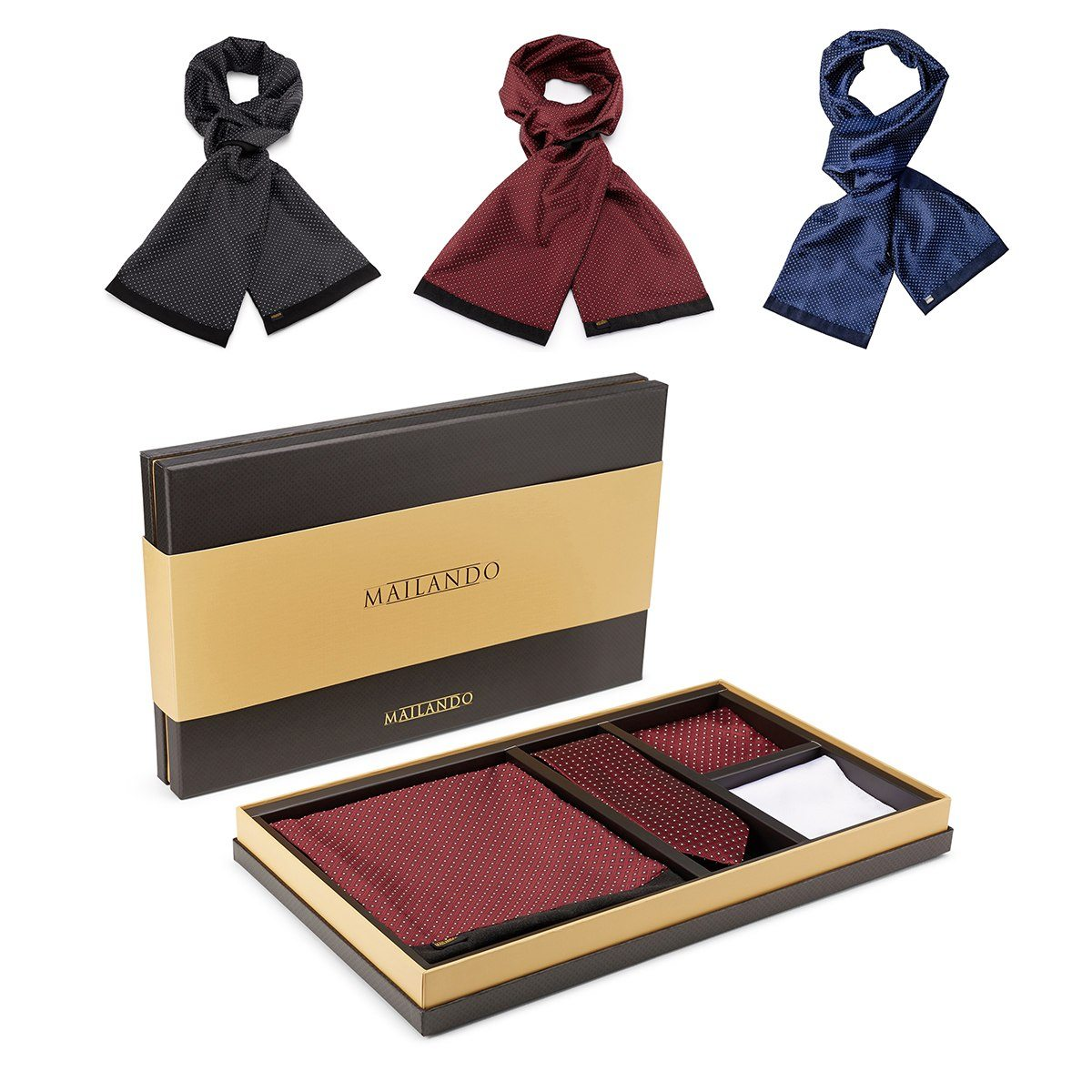 PERSONALIZED MEN GIFTSET WITH SCARF, TIE & HANDKERCHIEF